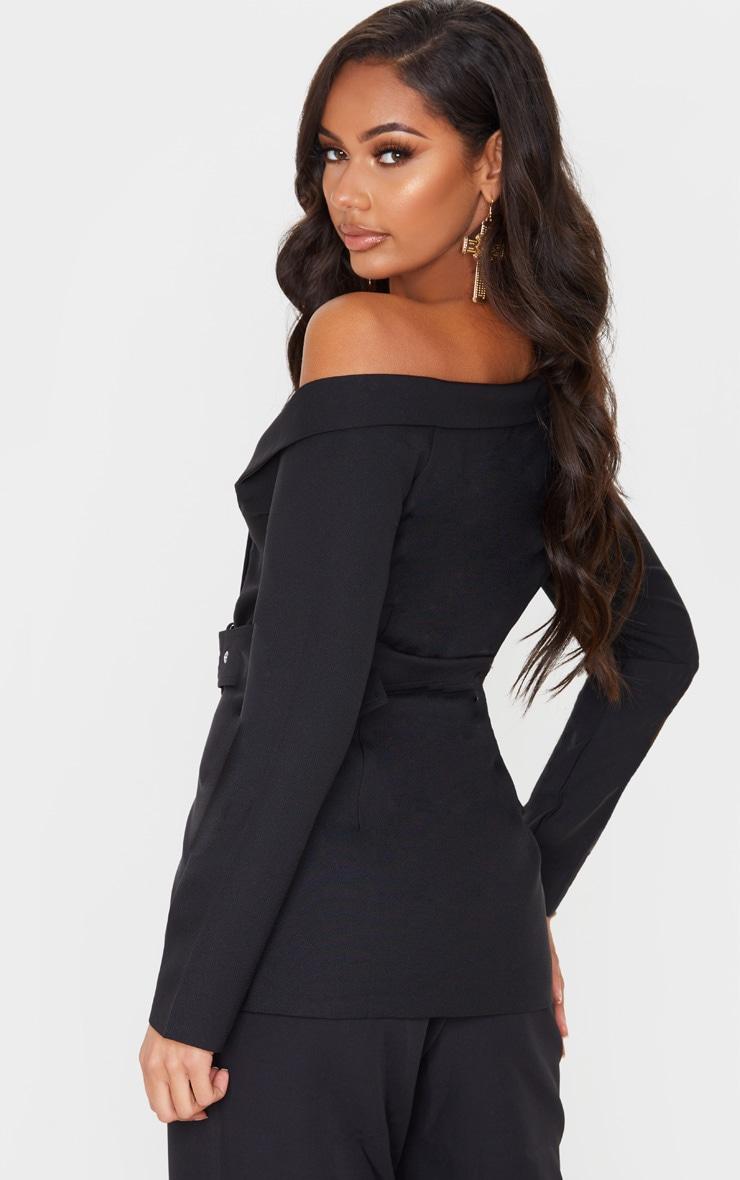 Black Woven One Shoulder Belted Blazer 2