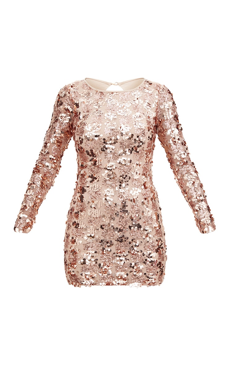 Rose Gold Sequin Front Long Sleeve Back Tie Detail Bodycon Dress 3