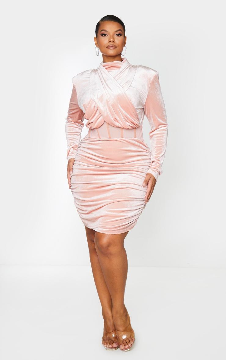 Plus Dusty Pink Velvet Shoulder Pad Mesh Panel Midi Dress 1