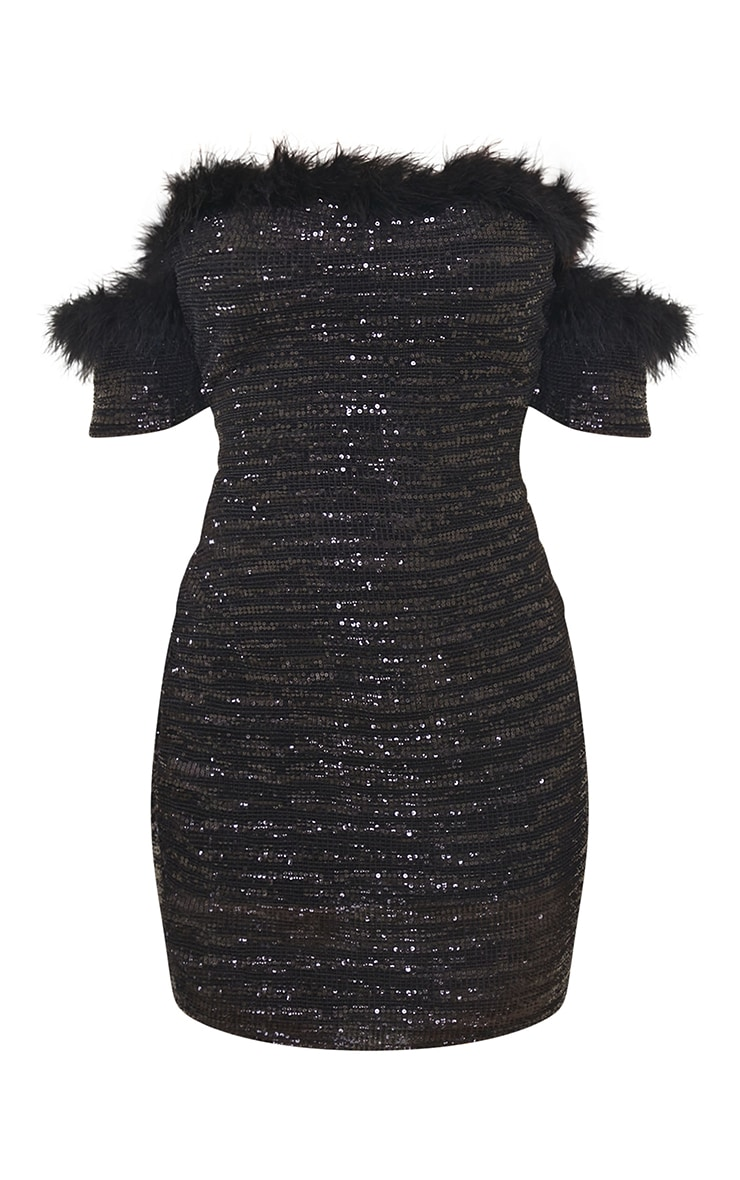 Black Sequin Bardot Feather Trim Bodycon Dress 5