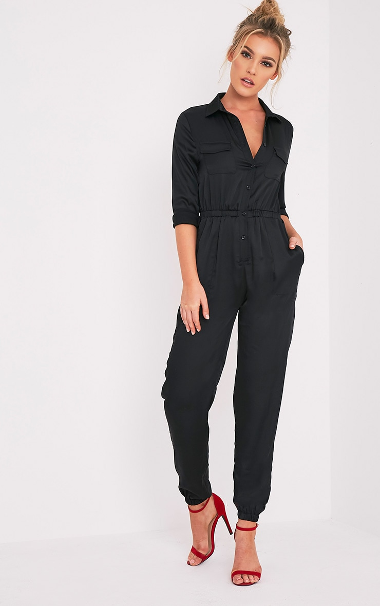 Marlea Black Embroidered Detail Silky Jumpsuit 5
