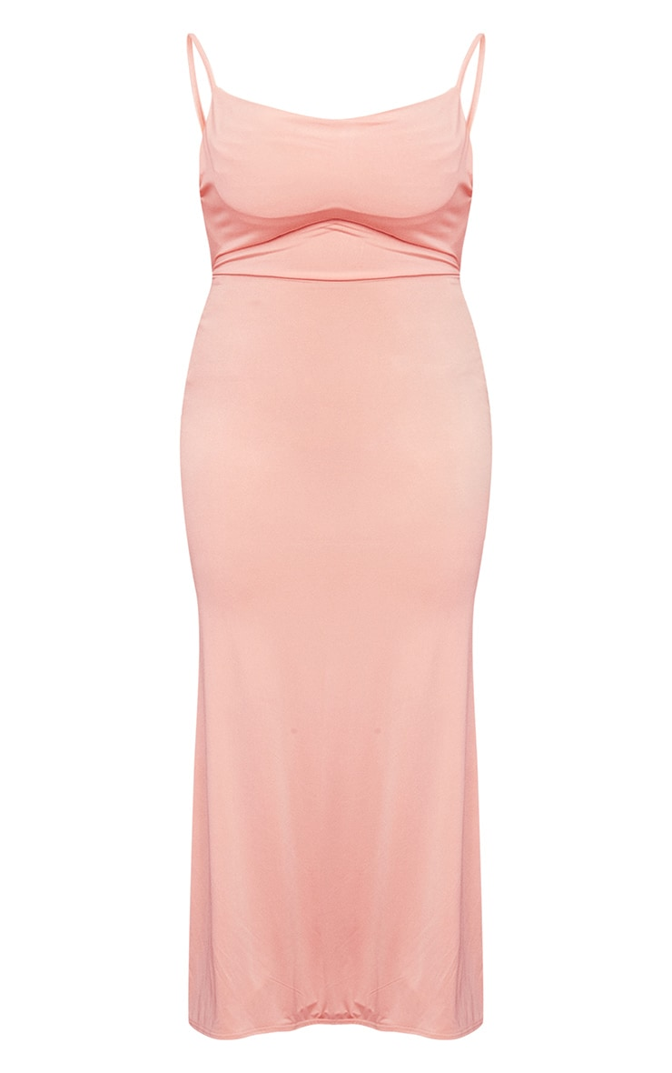 Plus Peach Slinky Ruched Bum Cowl Neck Maxi Dress 5