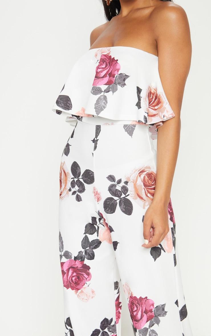 77420e6ed73c White Floral Bandeau Double Layer Jumpsuit image 4