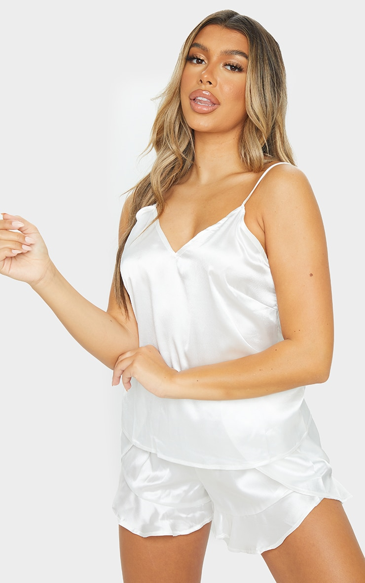 Ivory Satin Cami & Flippy Short PJ Set 1