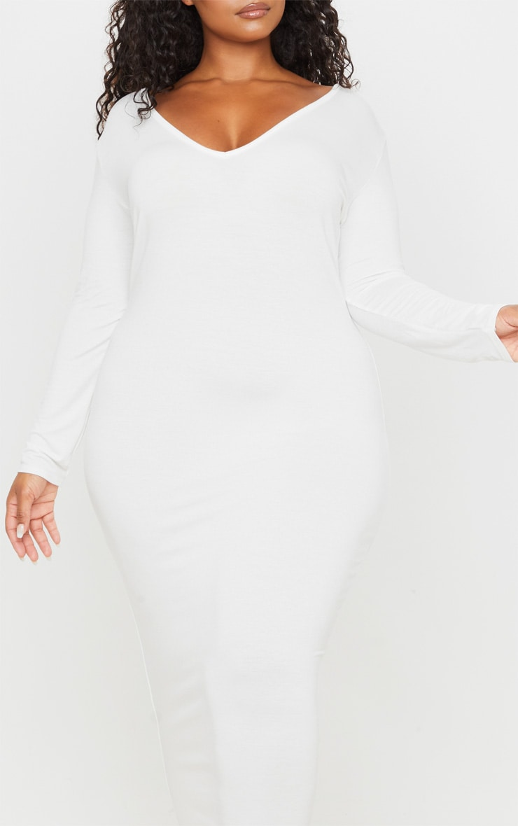 Plus Cream Jersey V Neck Long Sleeved Midi Dress 5