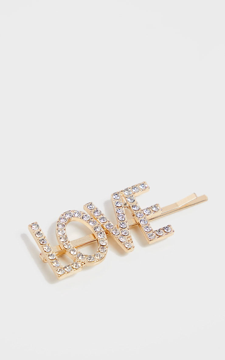 Gold Diamante Love Slogan Hair Slide 3