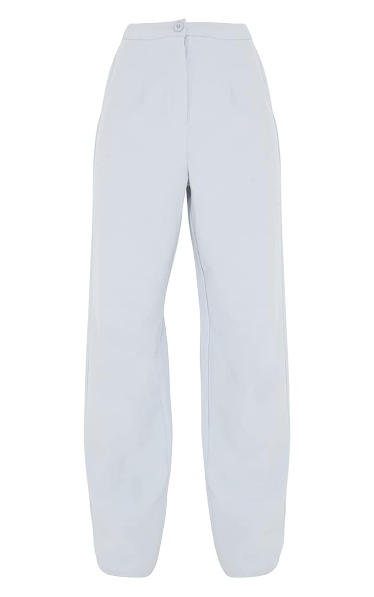 Light Grey Woven High Waisted Straight Leg Pants 5