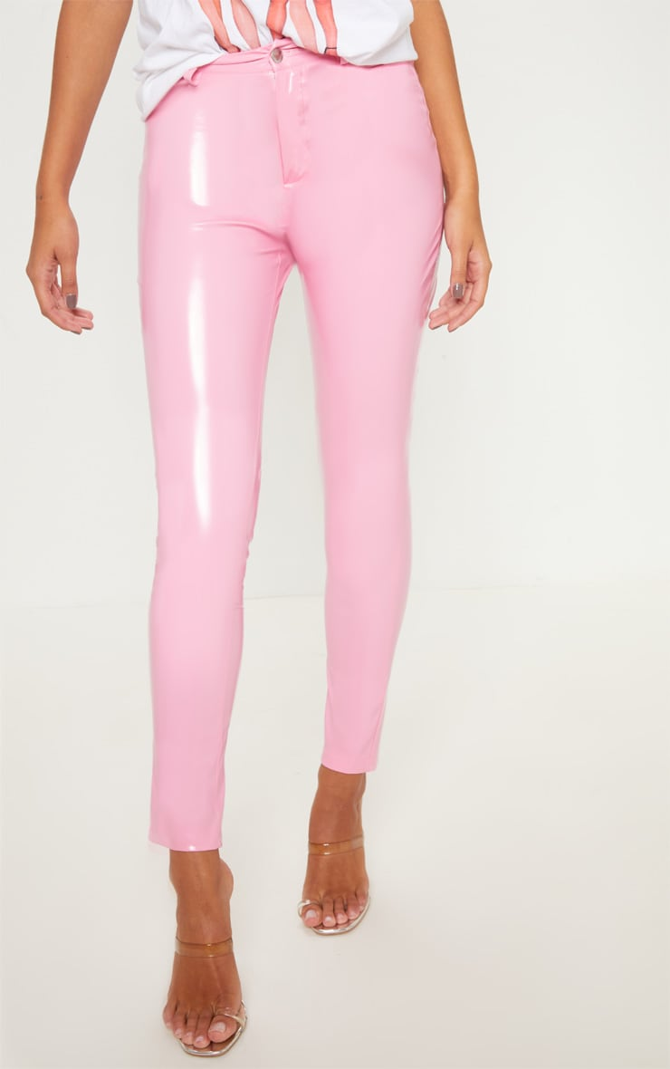 Candy Pink Button Front Vinyl Skinny Trouser 2
