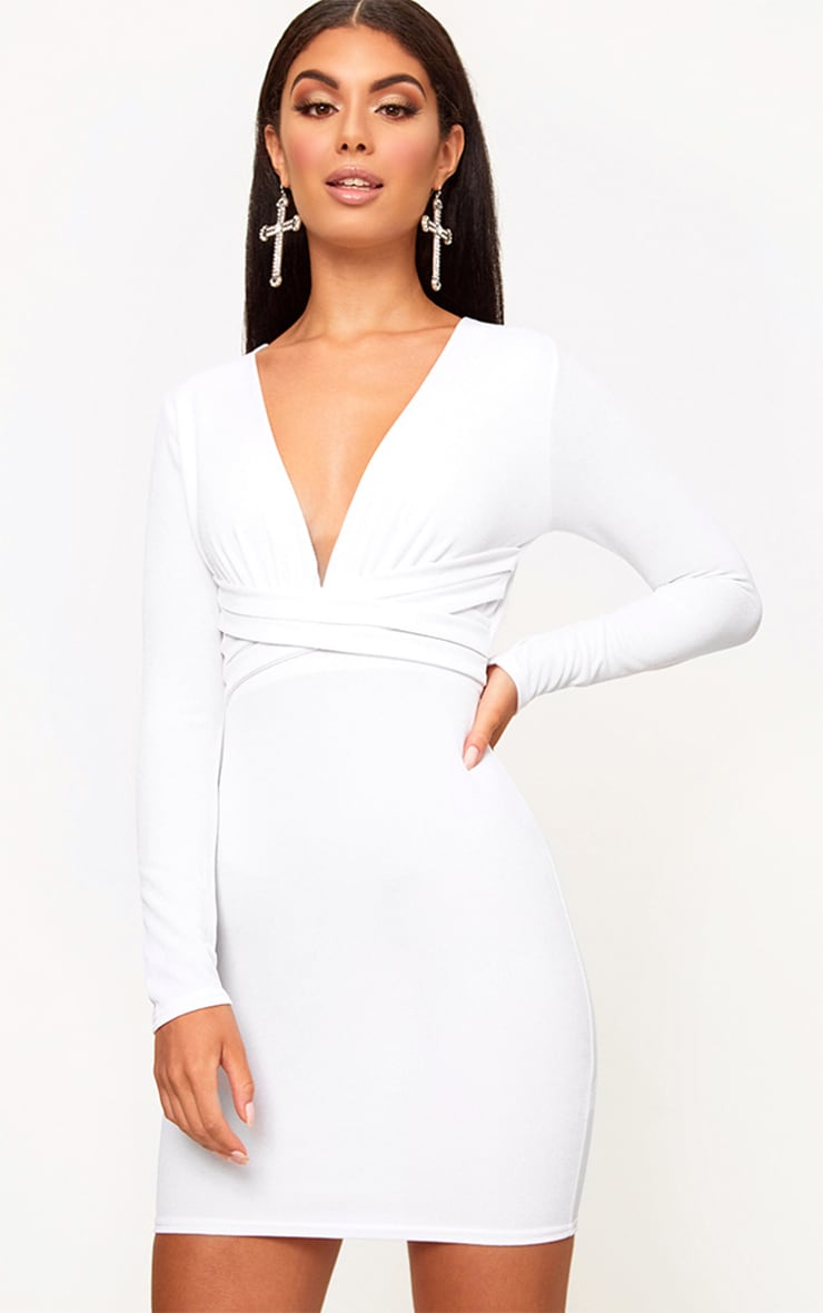 White Plunge Strappy Front Bodycon Dress 1