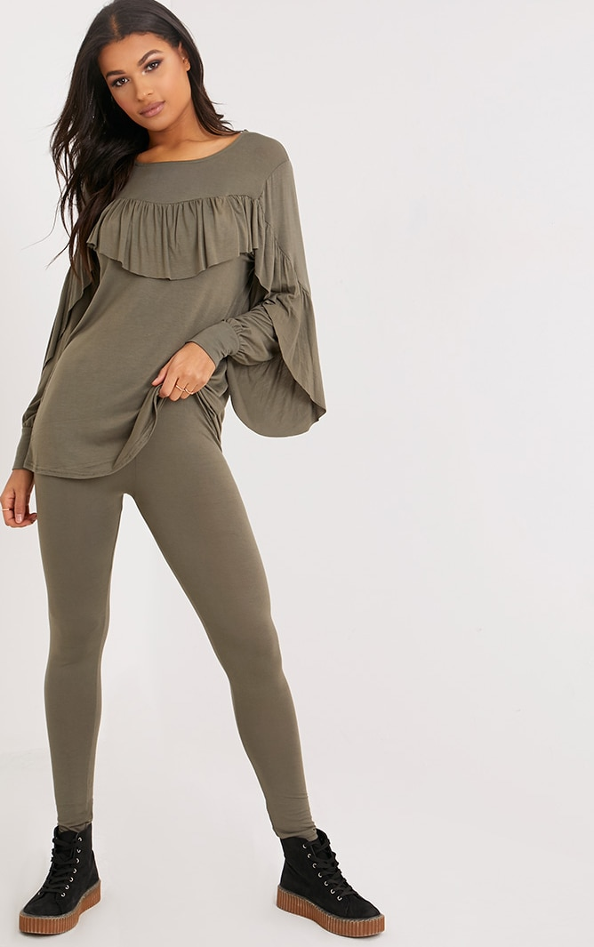 Dara Khaki Ruffle Sleeve Top & Leggings Set 1