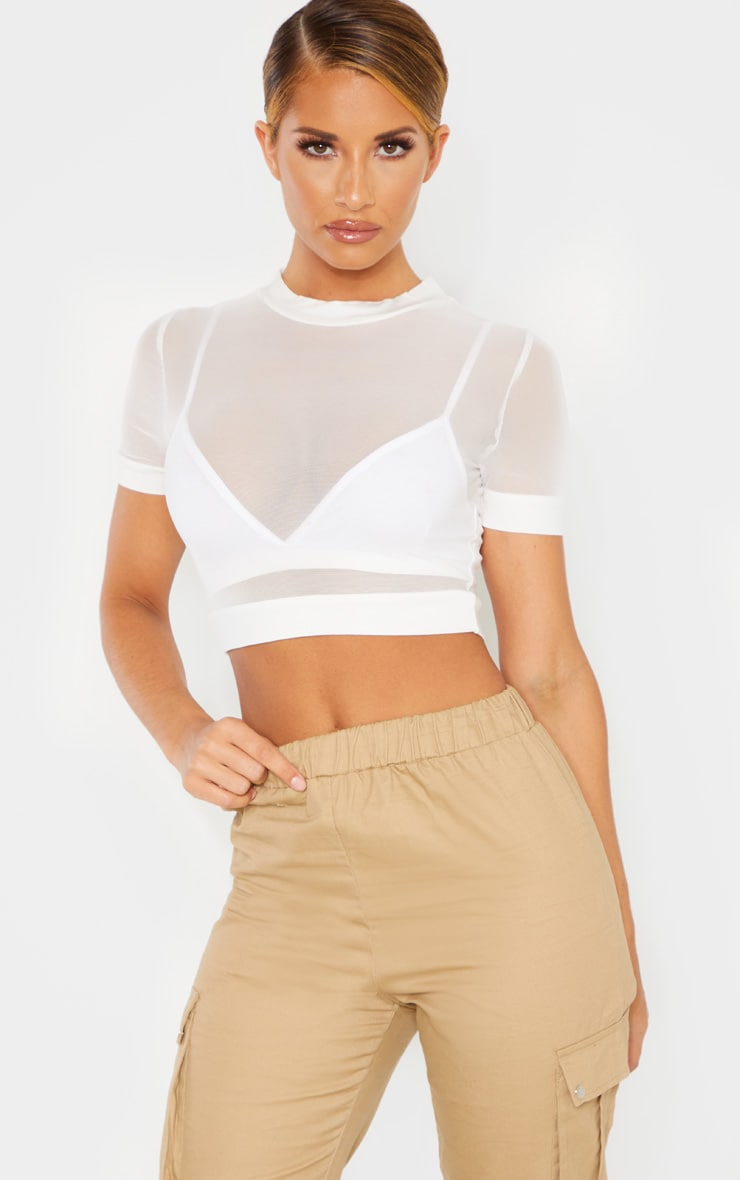 White Mesh Crew Neck Short Sleeve Crop Top 1