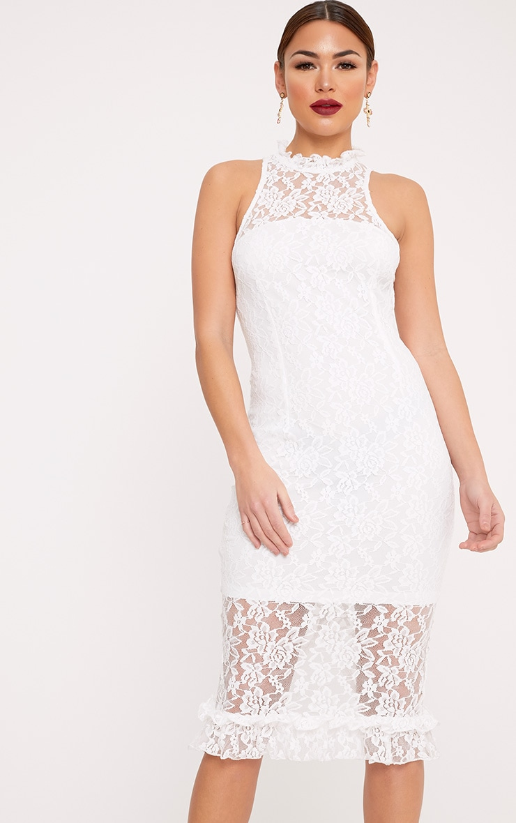 Helen White Lace Frill Neck Midi Dress 1