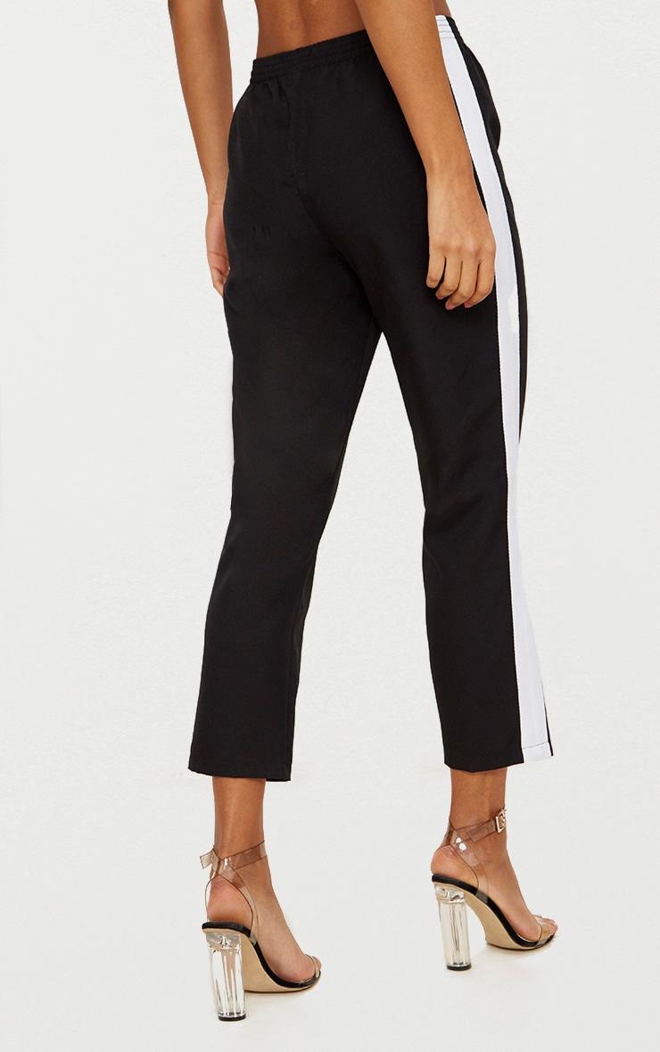Black Tailored Side Stripe Cigarette Pants 4