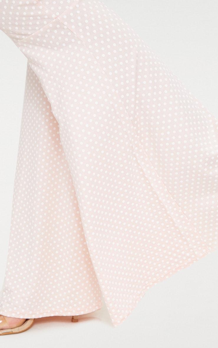 Pink Polka Dot Flared Leg Trousers 5