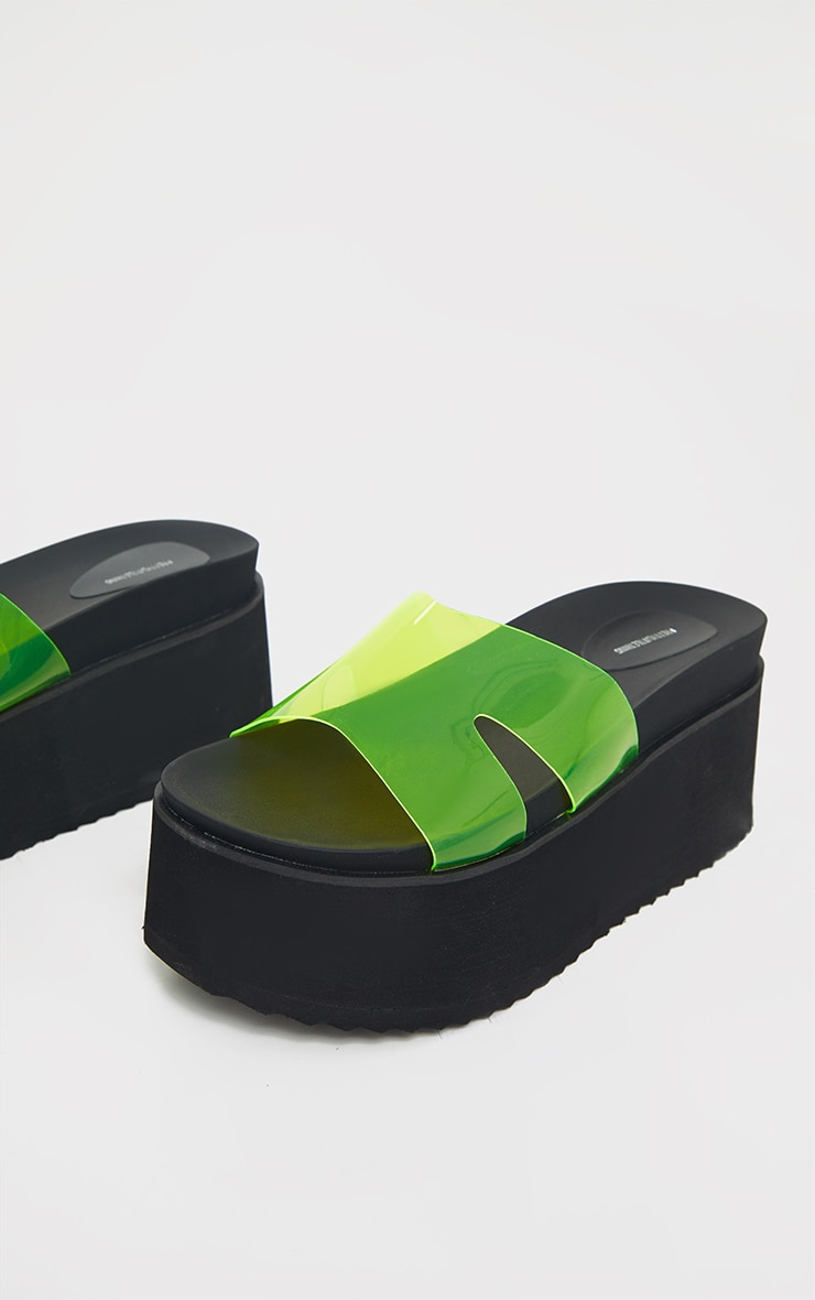 Lime Jelly Strap Mule Flatforms 3