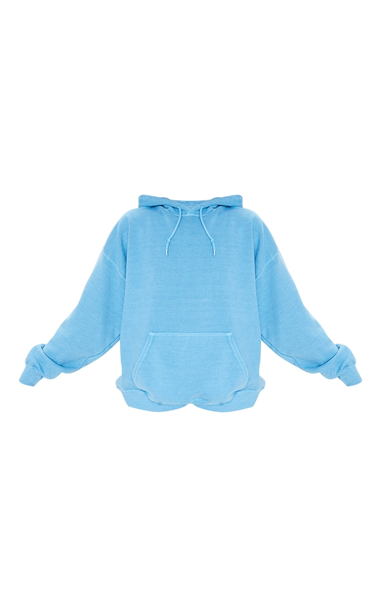 Petrol Blue Washed Oversized Hoodie 5
