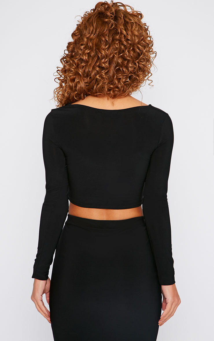 Bessie Black Slinky Sweetheart Plunge Crop Top  2