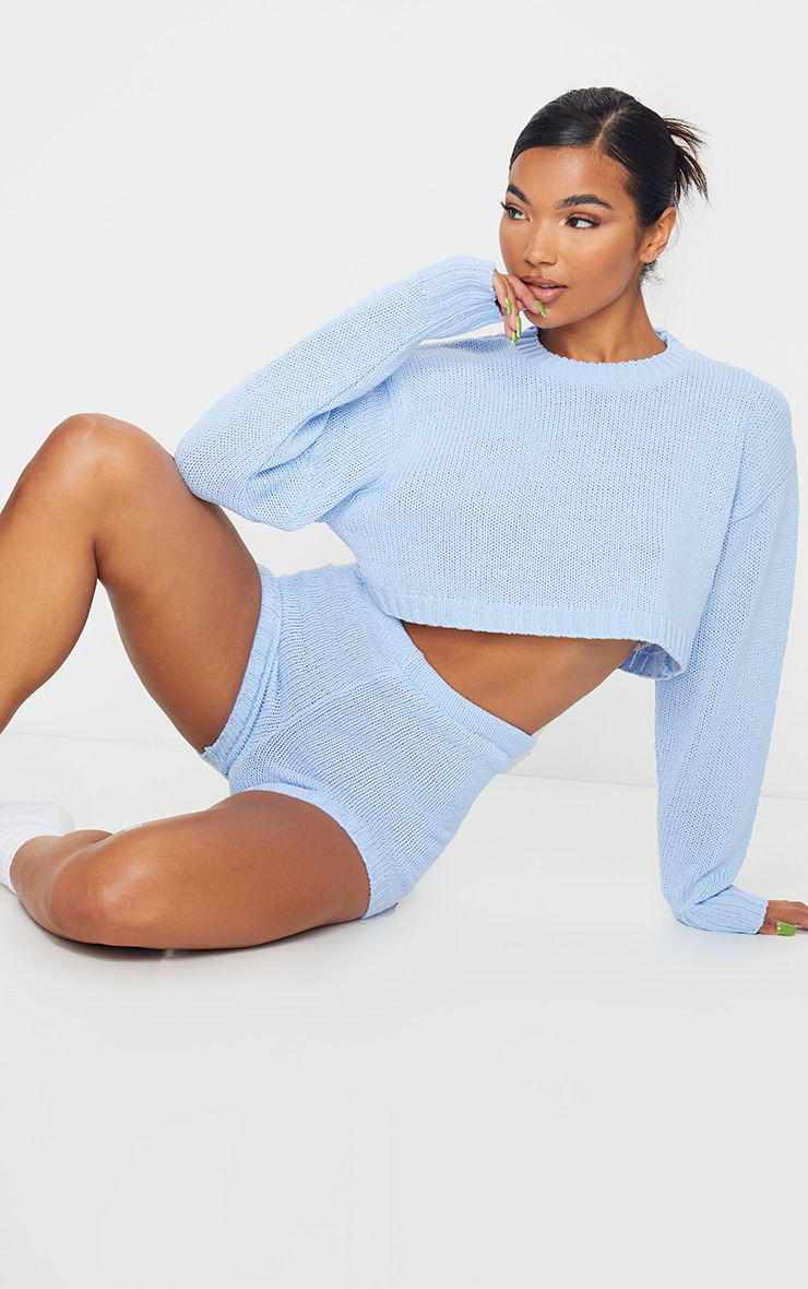 Baby Blue Deep Hem Knitted Jumper And Short Set 3