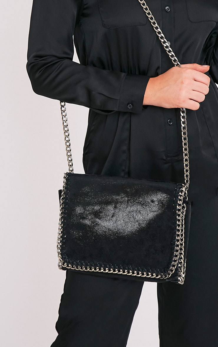Mylo Black Metallic Chain Detail Strap Shoulder Bag 1