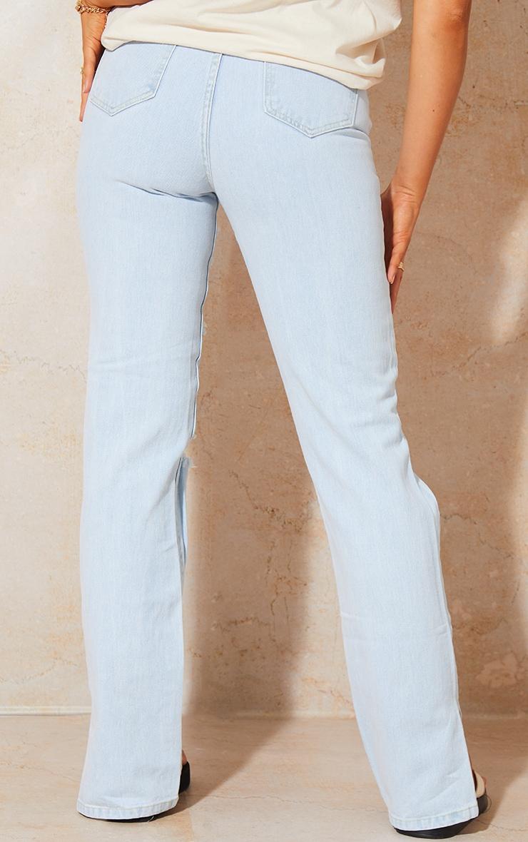 Bleach Wash Full Ripped Split Hem Jeans 3