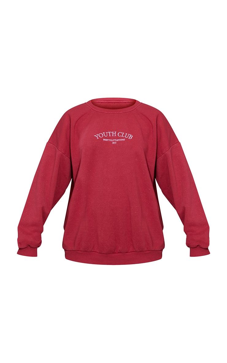 Burgundy Youth Club Slogan Embroidered Washed Sweatshirt 5