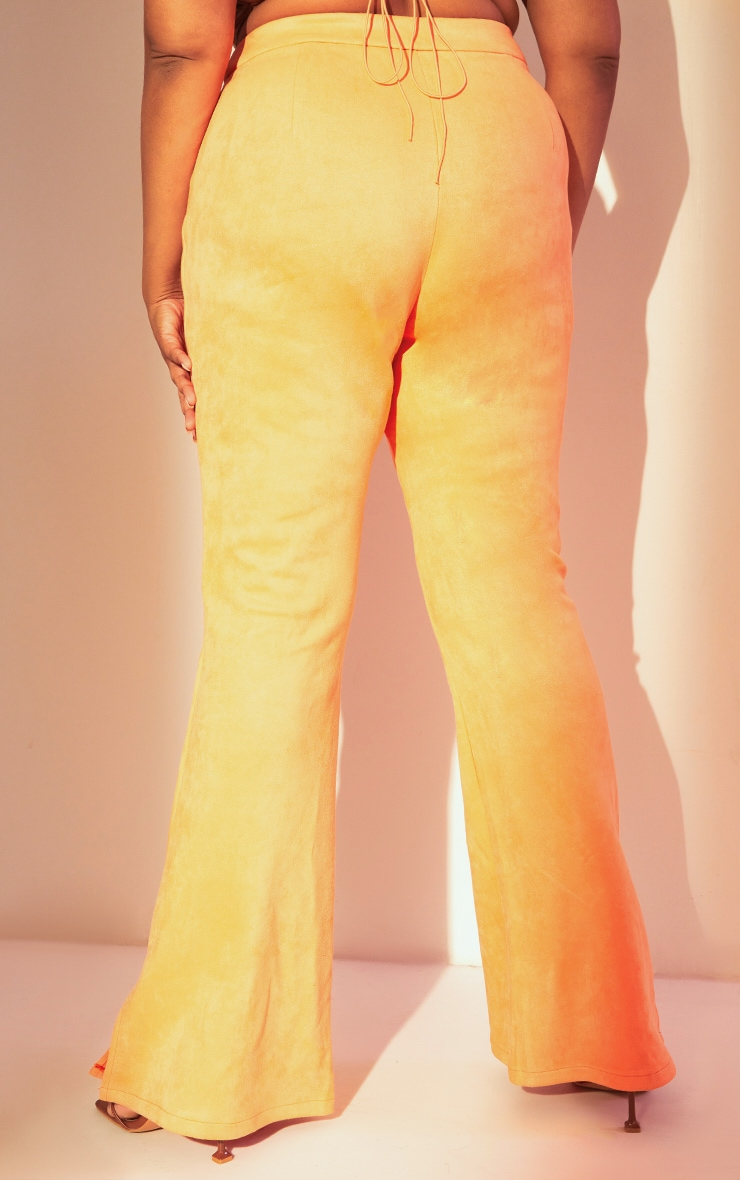 Plus Coral Bonded Suede Flare Pants 3