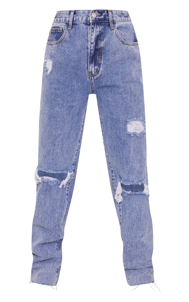 PRETTYLITTLETHING Petite Blue Acid Wash Distressed Long Leg Jeans 5