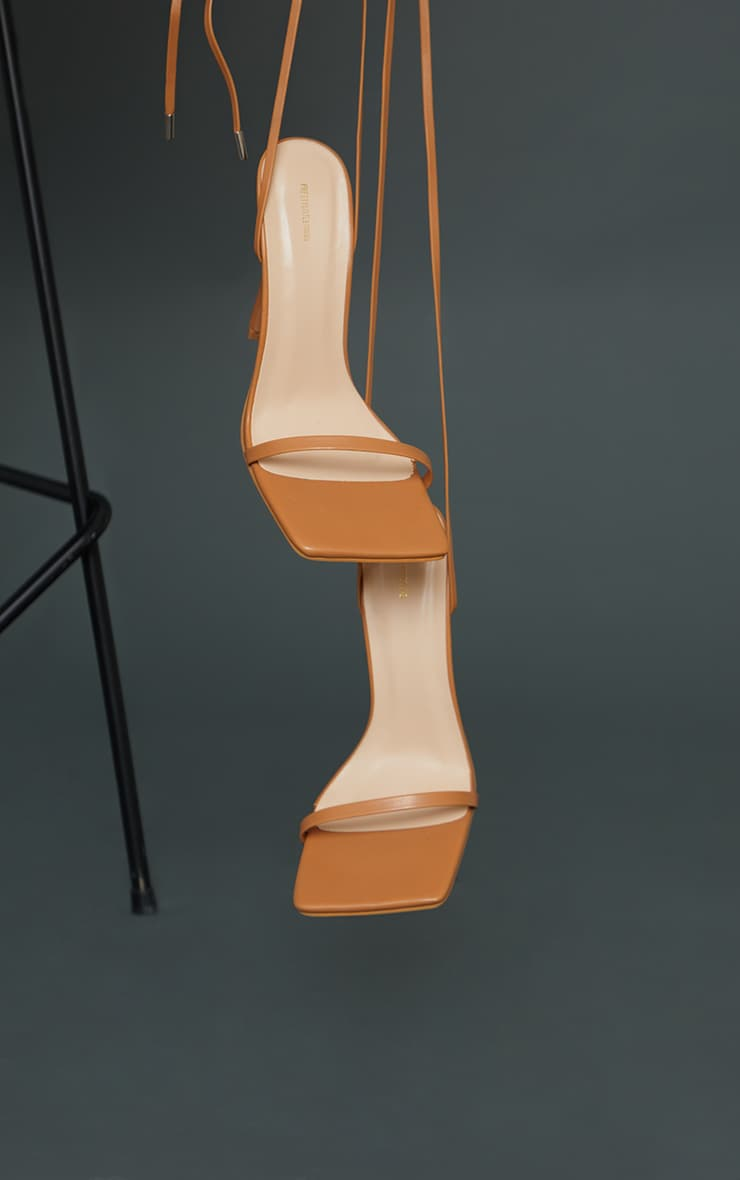 Tan Square Toe Barely There Heeled Sandals 4