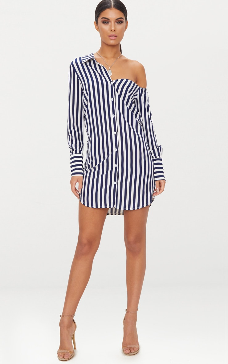 Navy Striped Off the Shoulder Shirt Dress 5
