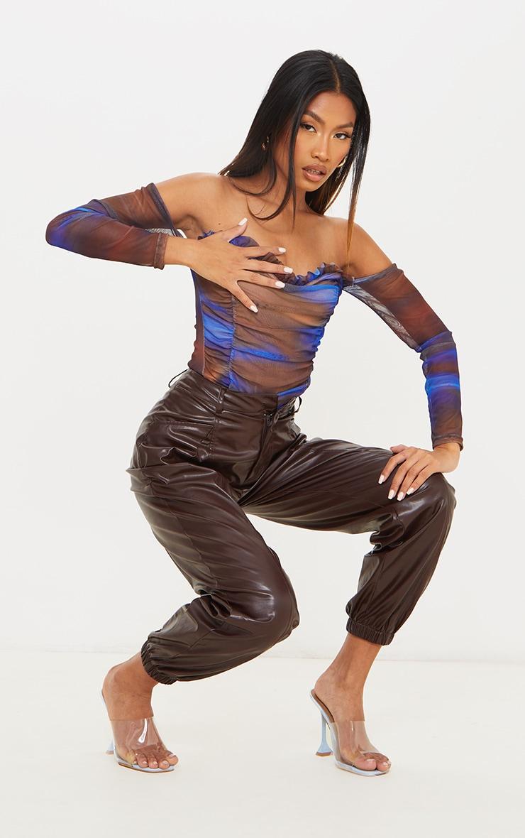 Blue Blur Printed Mesh Ruched Bardot Bodysuit 3