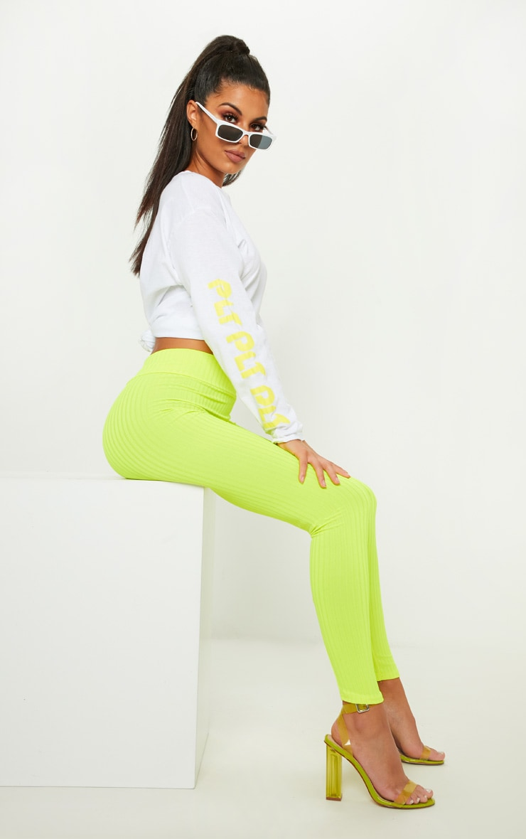 Neon Yellow Ribbed High Waisted Legging 1