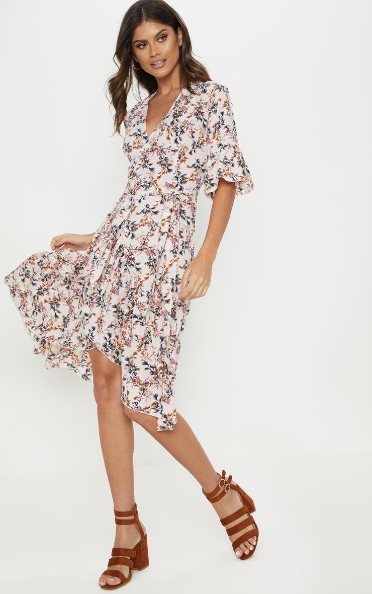 Pink Floral Print Frill Hem Midi Tea Dress 4