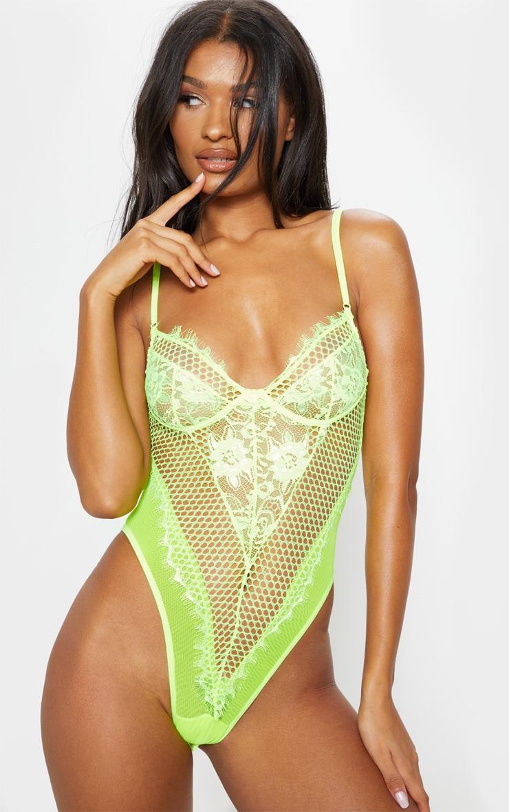 Neon Lime Eyelash Lace & Fishnet Body 1