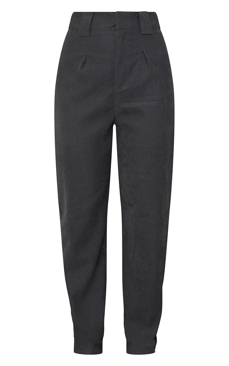Charcoal Grey Premium Twill Blend Pleat Detail Trousers 5