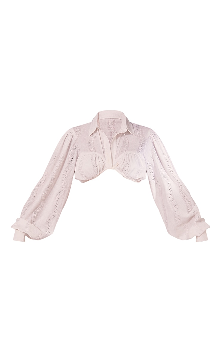 White Woven Embroidered Underbust Detail Cropped Shirt 5
