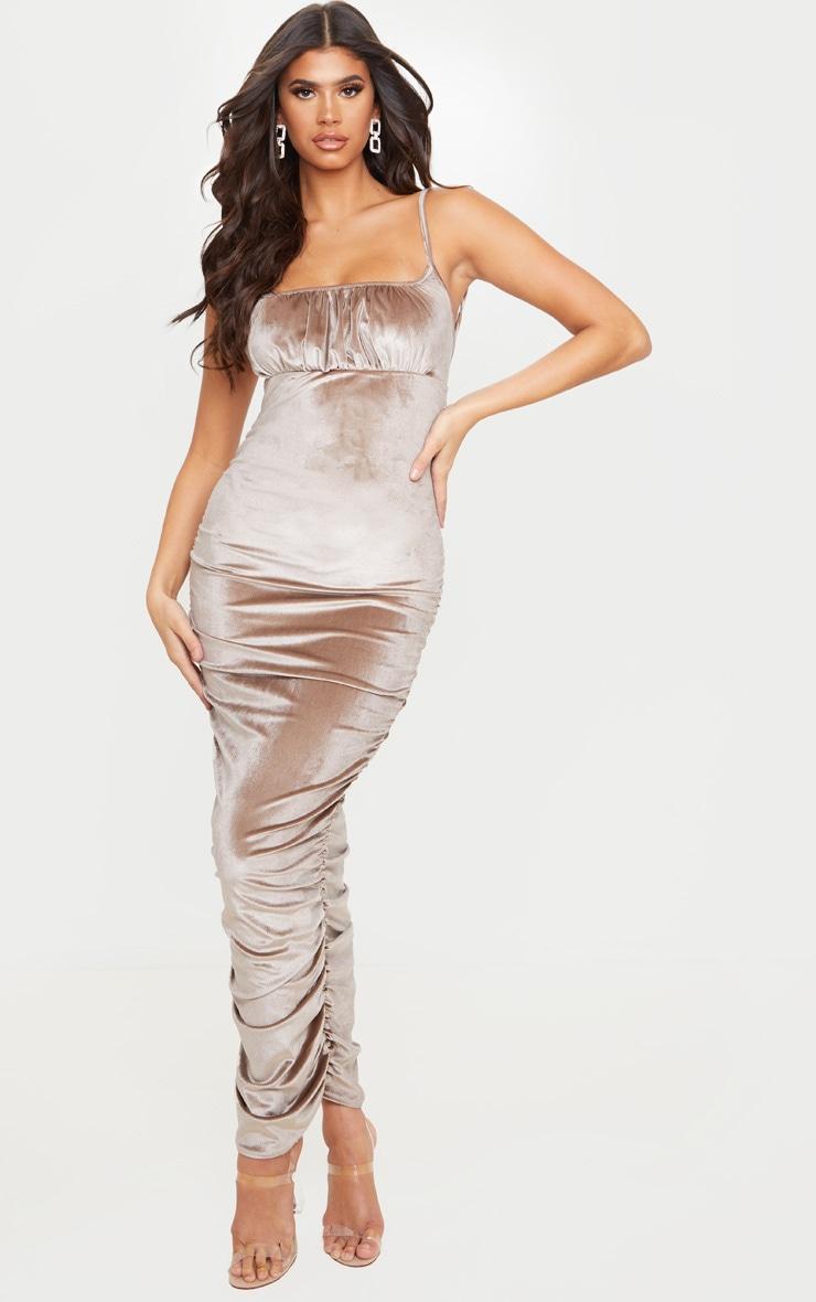 Mocha Velvet Strappy Ruched Midi Dress 1