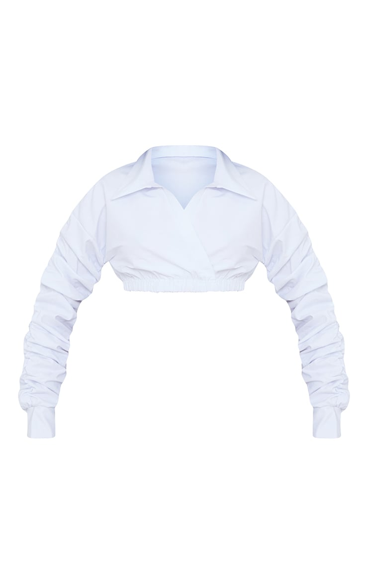 White Extreme Ruched Long Sleeve Cropped Shirt 5