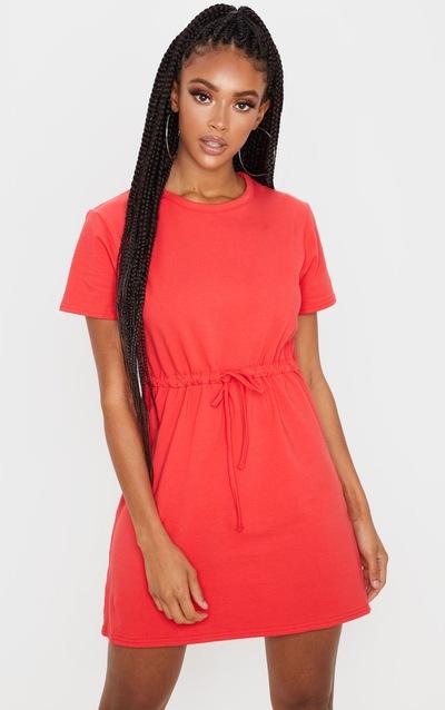 Red Drawstring Tie Waist T Shirt Dress