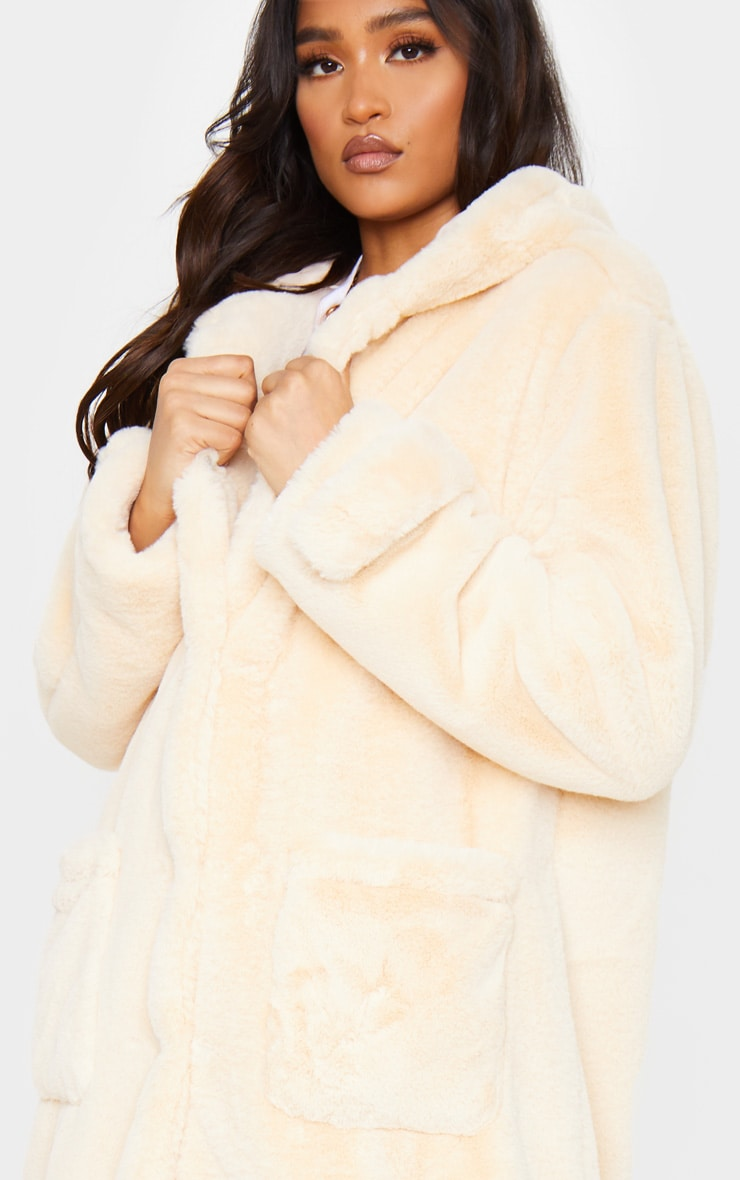 Beige Hooded Faux Fur Military Coat 4