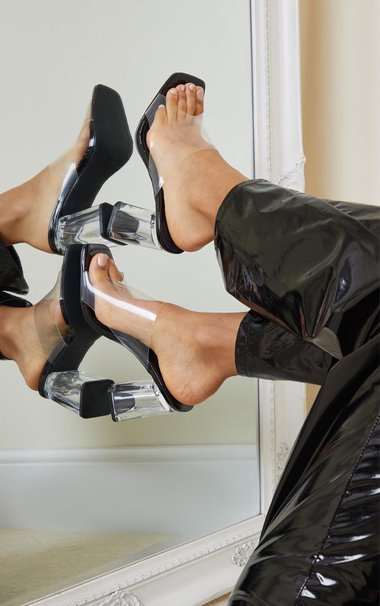 Black WIDE FIT Clear Flared Block Heel Mules 1