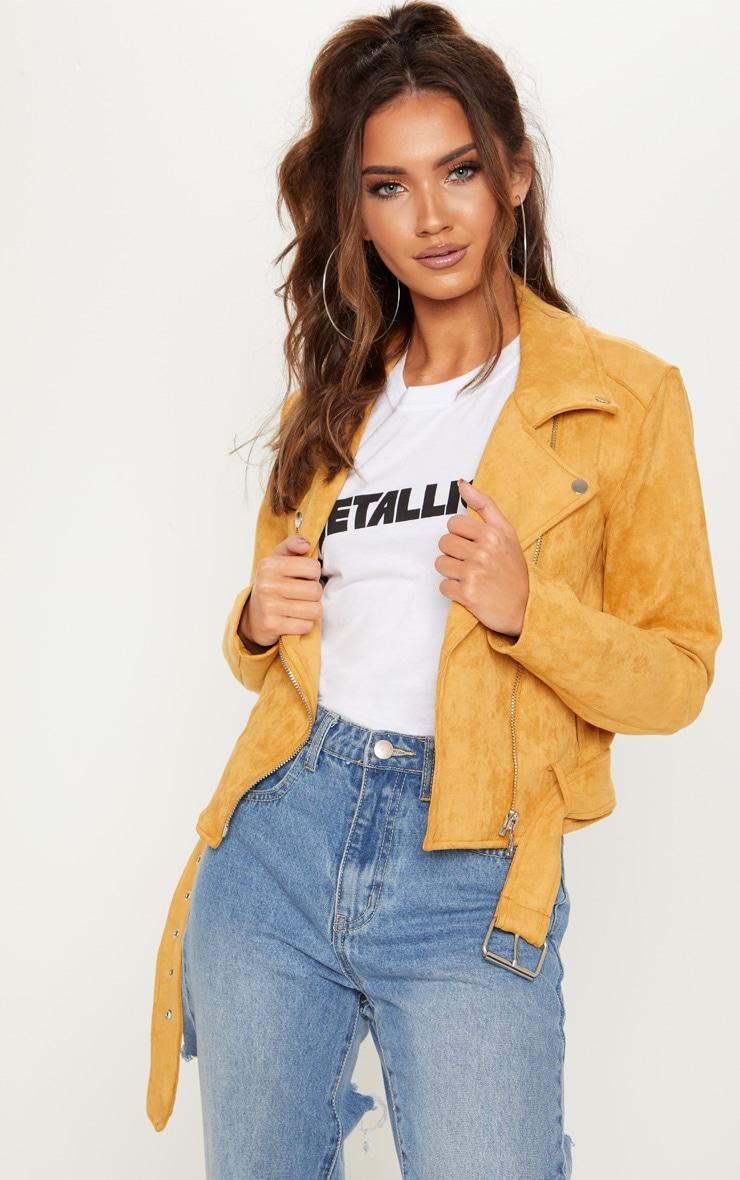 Mustard Faux Suede Biker Jacket 4