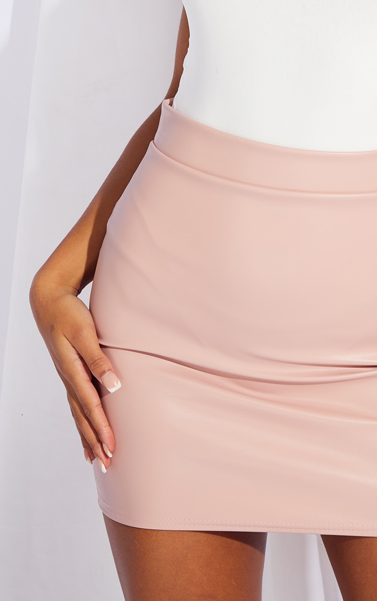 Dusty Pink Faux Leather Basic Mini Skirt 5