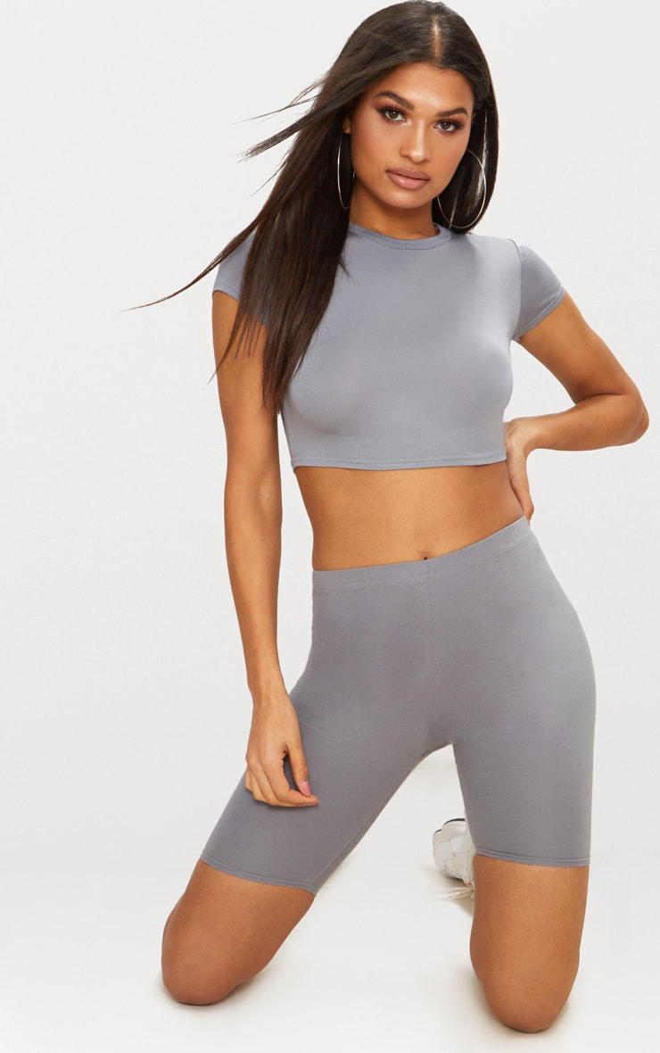 Basic Grey Short Sleeve Crop T Shirt  1