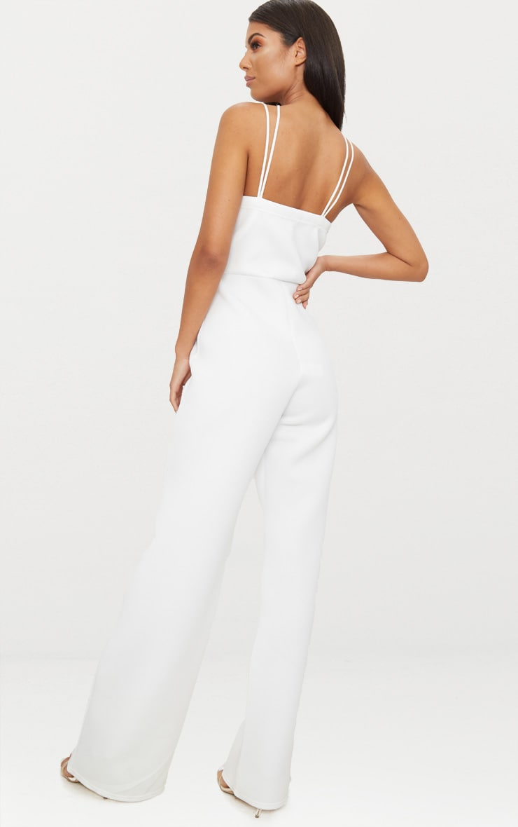 White Scuba Cross Strap Jumpsuit 2