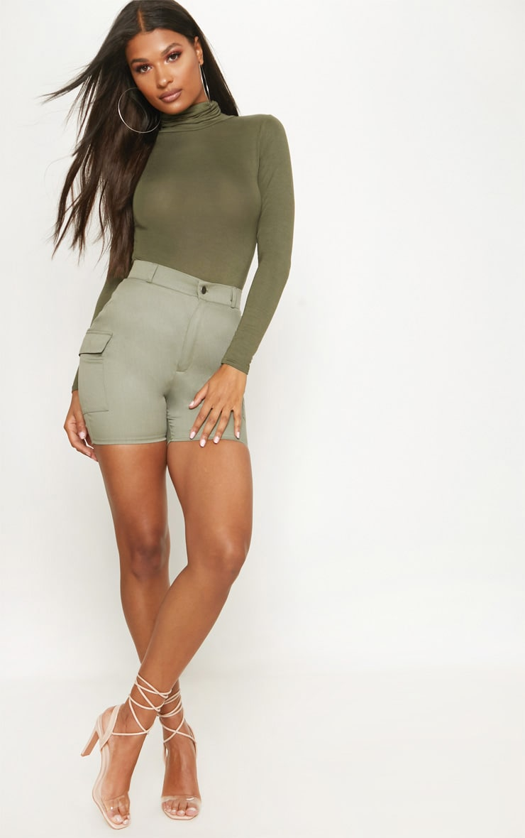 Khaki Roll Neck Long Sleeve Bodysuit 5