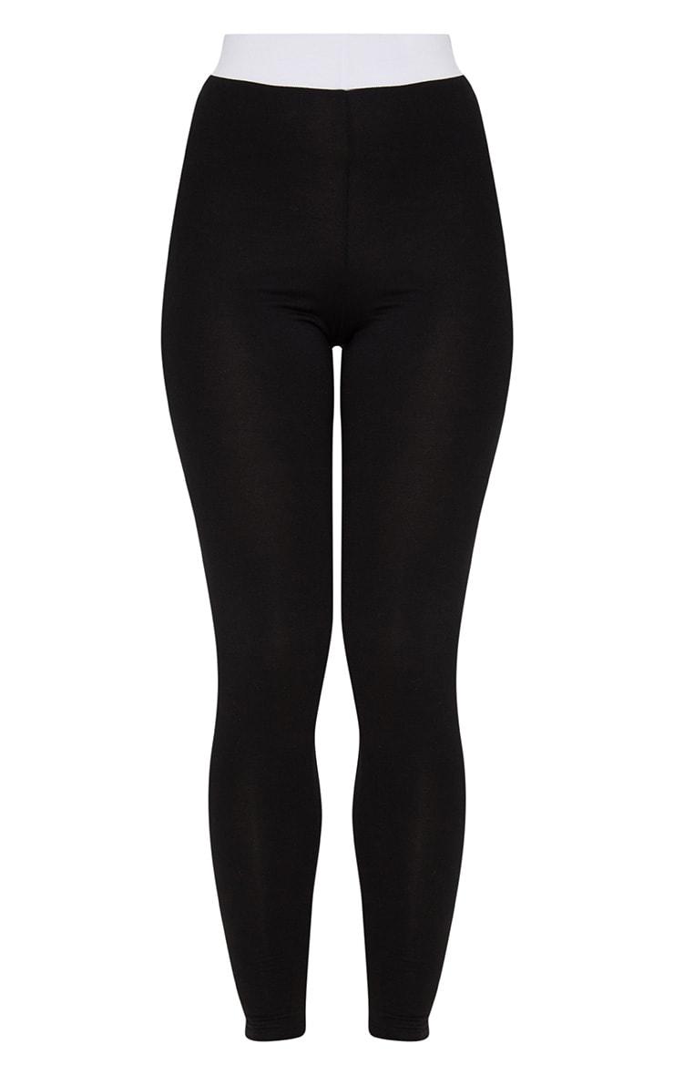 Legging noir à bande blanche contrastée au niveau de la taille 3