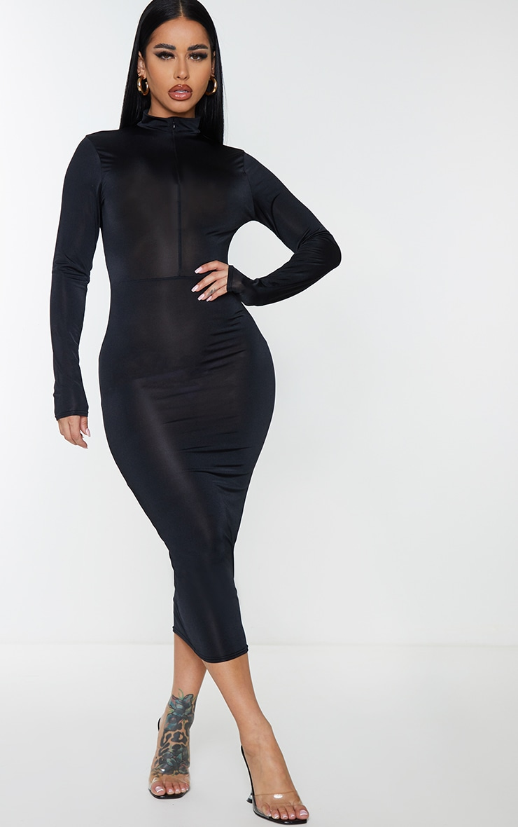 Shape Black Disco Zip Front Midi Dress 1