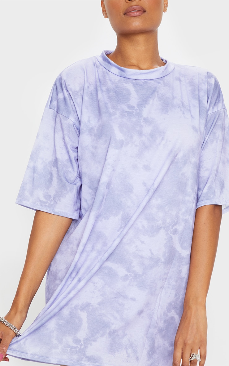 Lilac Tie Dye Oversized Boyfriend T Shirt Dress 4