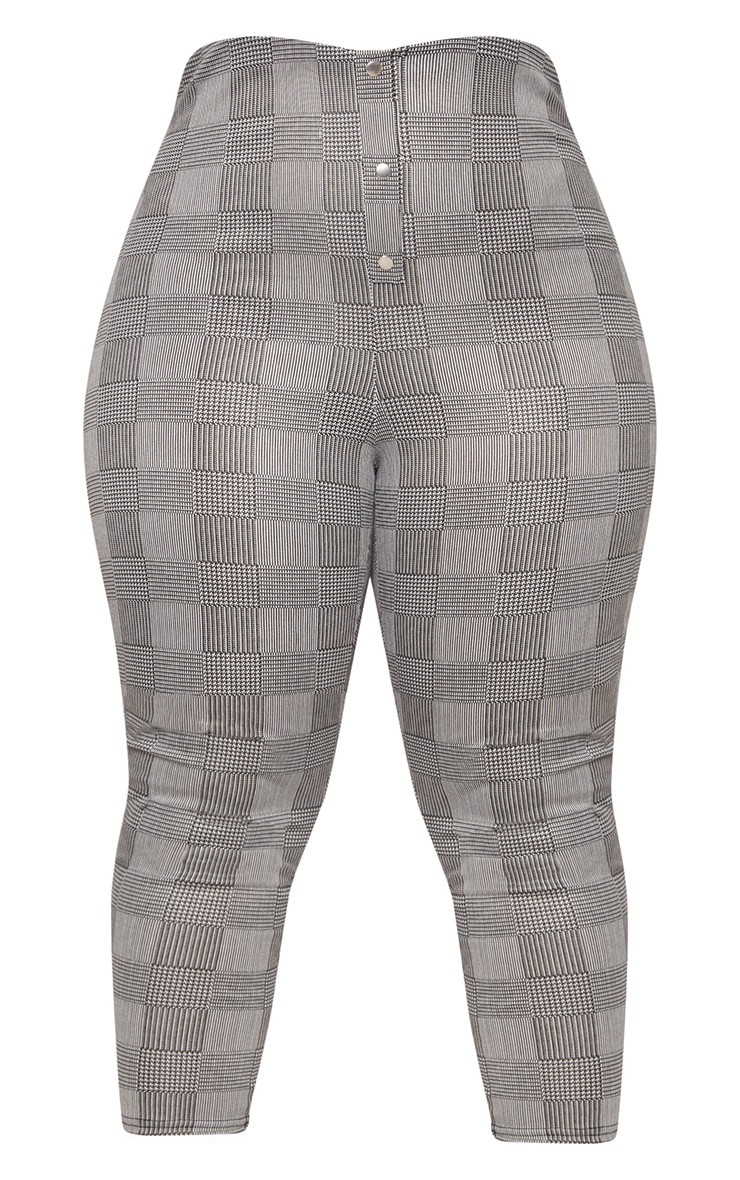 Plus Grey Check Super High Waisted Popper Front Trousers 2