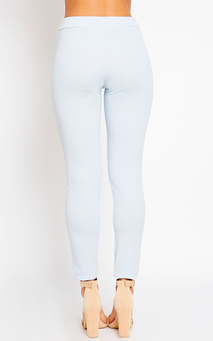 Sage Powder Blue Crepe Cigarette Trousers 4